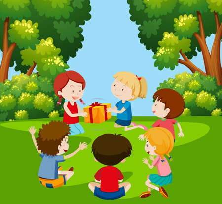 Kinder spielen an der Paketillustration vorbei Vektorgrafik