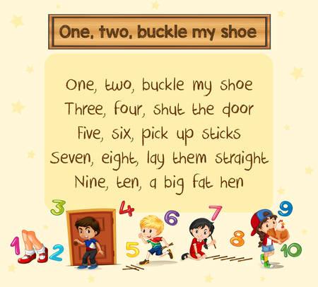 Uno dos abrocha la ilustración de la canción de mi zapato