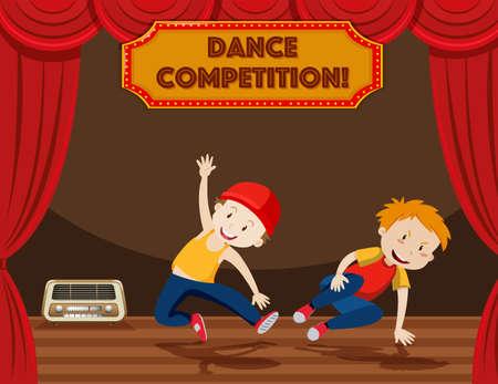 Boys performing street dance on stage illustration Ilustração