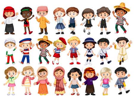 Illustration de personnes et de costumes internationaux