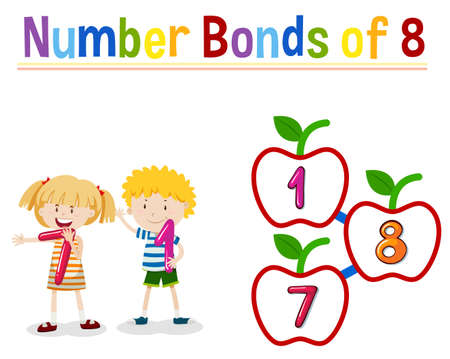 Number bonds of eight illustration