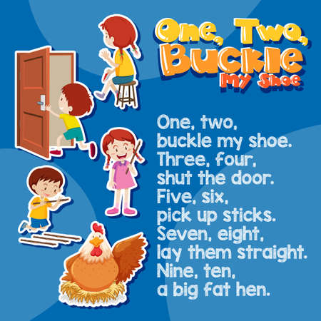 One two buckle my shoes song illustration