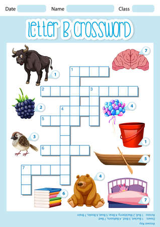 Crossword letter B game template illustration