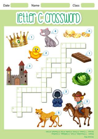 Crossword letter C game template illustration Ilustração