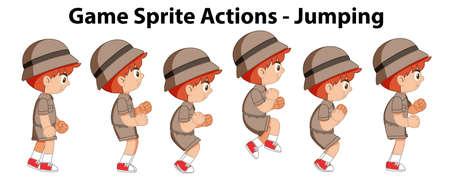 Game sprite actions - jumping illustration Illustration