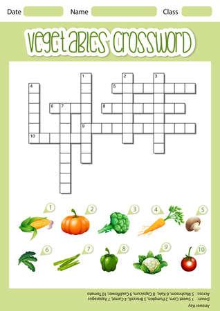 Vegetable crossword sheet template illustration