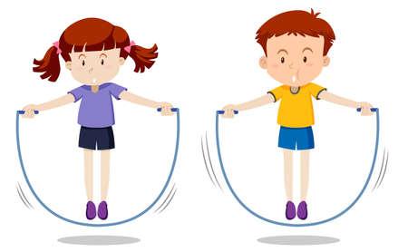 Garçon et fille sautant illustration