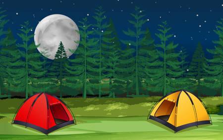 Dos decenas en el bosque en la ilustración de la escena nocturna Ilustración de vector