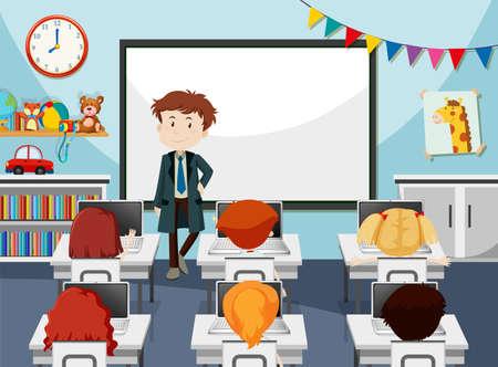 Teacher in it classroom illustration