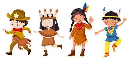 Aantal kinderen in kostuumillustratie Vector Illustratie