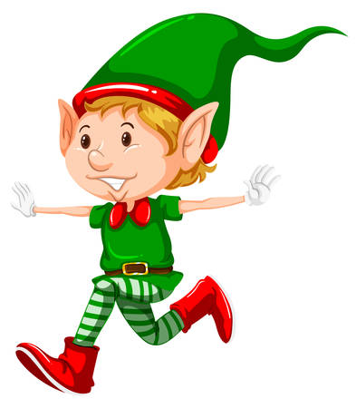 Happy christmas elf running illustration