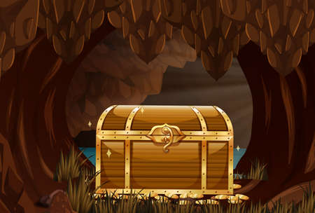 Treausre chest in underground cave illustration