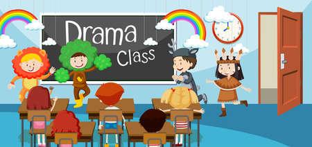 Niños en la ilustración de la clase de drama. Ilustración de vector