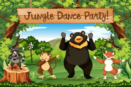 Animals jungle dance party illustration Illustration