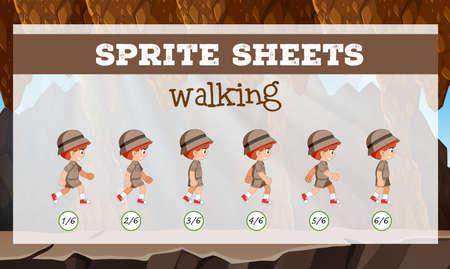 Sprite sheet boy walking illustration Vettoriali