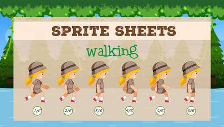 Sprite Sheet girl walking illustration