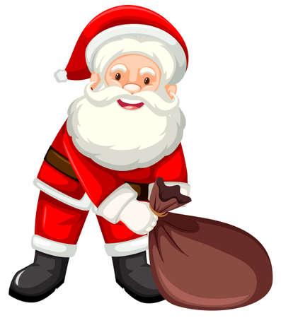 Happy santa with sack illustration
