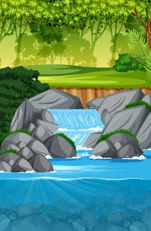 schöne Wasserfalllandschaftsszenenillustration
