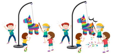 Children hitting pinata game illustration