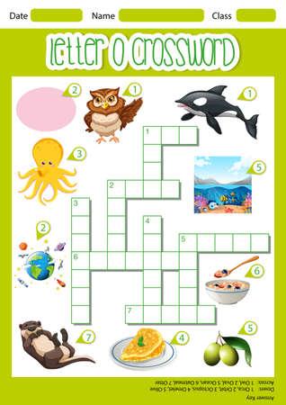 Letter O crossword template illustration Ilustração