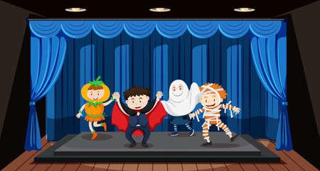 Kids doing role play on stage illustration Illustration