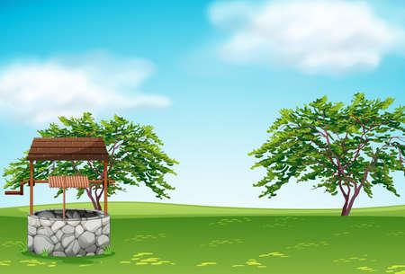 Un pozzo nell'illustrazione del paesaggio verde