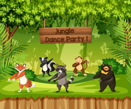 Animals perform jungle dance party illustration