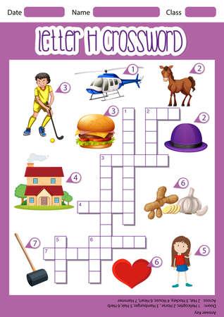 Letter H crossword template illustration