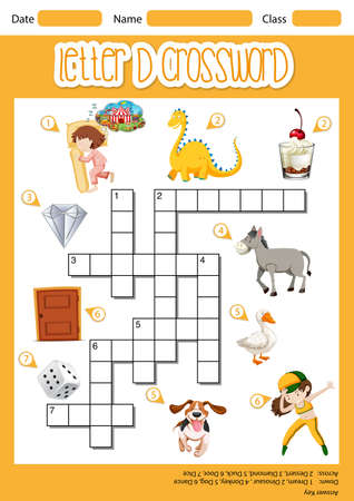 Letter D crossword template illustration Иллюстрация