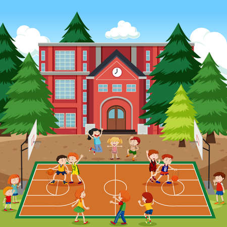 Children playing basketball scene illustration