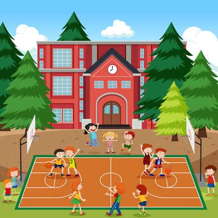 Children playing basketball scene illustration Stock Illustratie