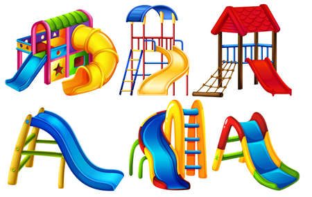Set of playground equipment illustration