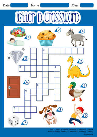 Letter D crossword template illustration Ilustracja