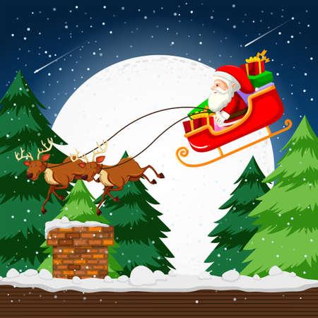 Santa flying in a sleigh illustration Vector Illustration