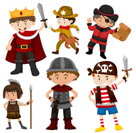 Set of children in costumes illustration