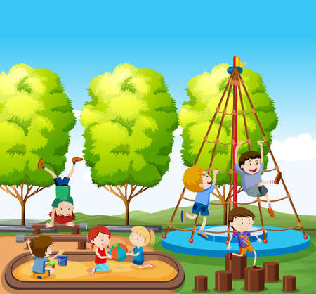 Children playing on playground illustration