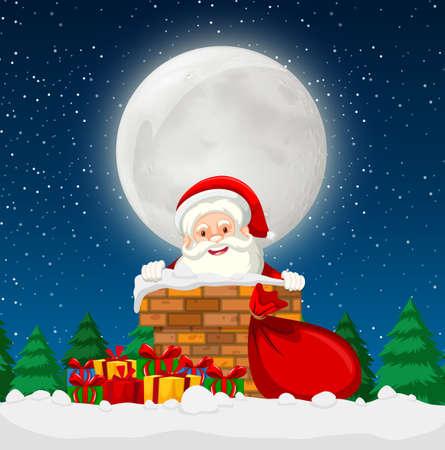 Santa in einer Schornsteinszenenillustration