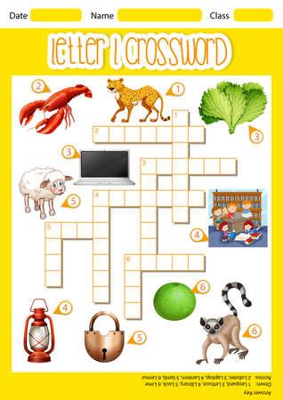 letter l crossword concept illustration