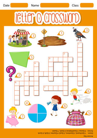 Letter Q crossword template illustration
