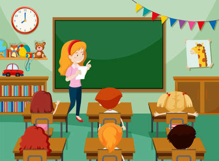 Teacher and students in classroon illustration Иллюстрация