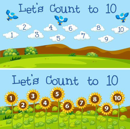 Let's count to 10 scenes illustration