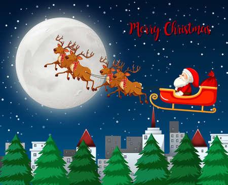 Merry Christmas santa sleigh with reindeer illustration
