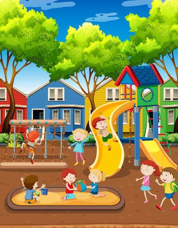 Kids playing on playground illustration