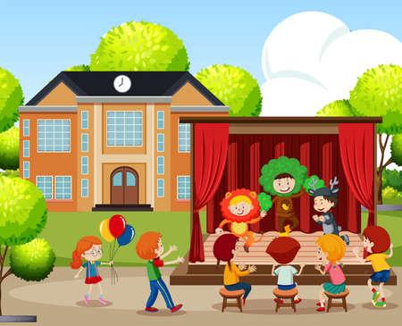 Children performing on stage illustration