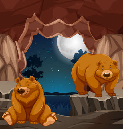 Two brown bears in cave illustration