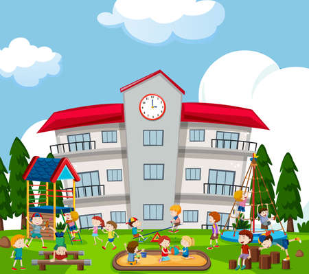 Happy kids playing on playground illustration