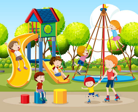 Children playing outdoors scene illustration Illustration