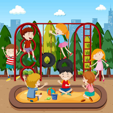 Kids playing on playground illustration