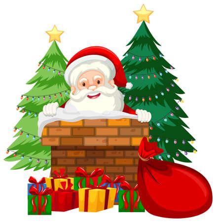 Santa in chimney card illustration Archivio Fotografico - 109746450