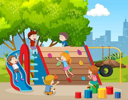 Enfants heureux sur l'illustration de l'aire de jeux